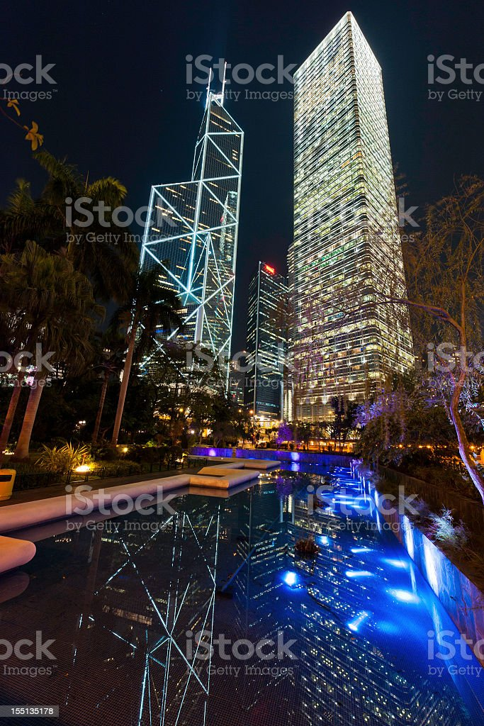 Hong Kong Statue Square skyscrapers illuminated night Central District China stock photo