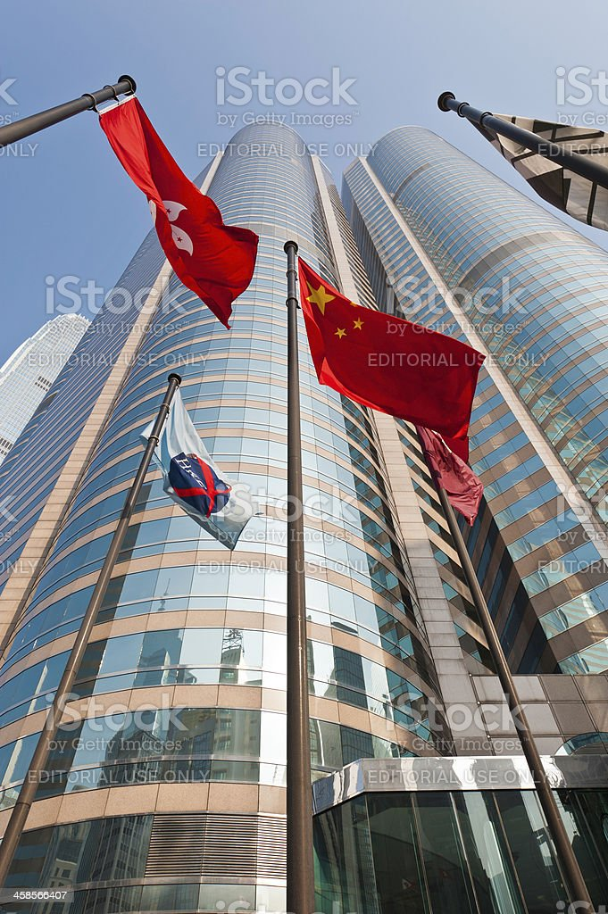 Hong Kong Stock Exchange Square flags skyscrapers China stock photo