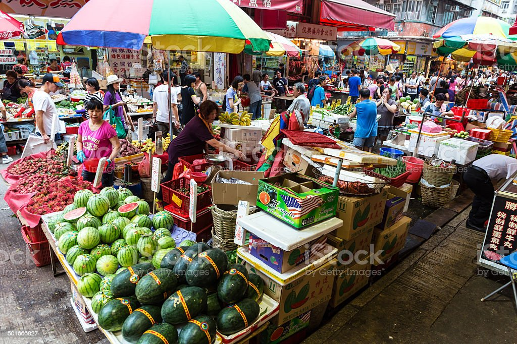 Hong Kong Street Market stock photo