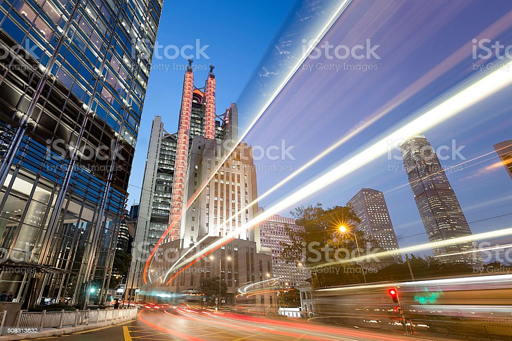Hong Kong Street Scene with Car Trails at Night stock photo