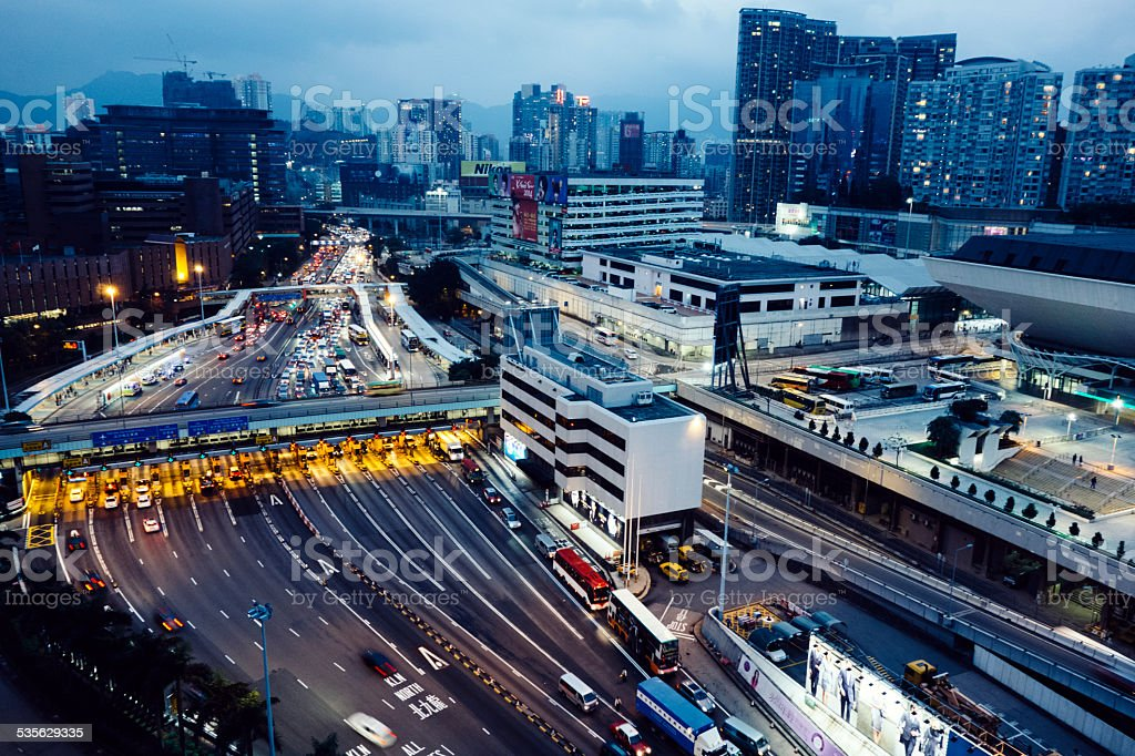 Hong Kong traffic and toll gates, aerial view stock photo