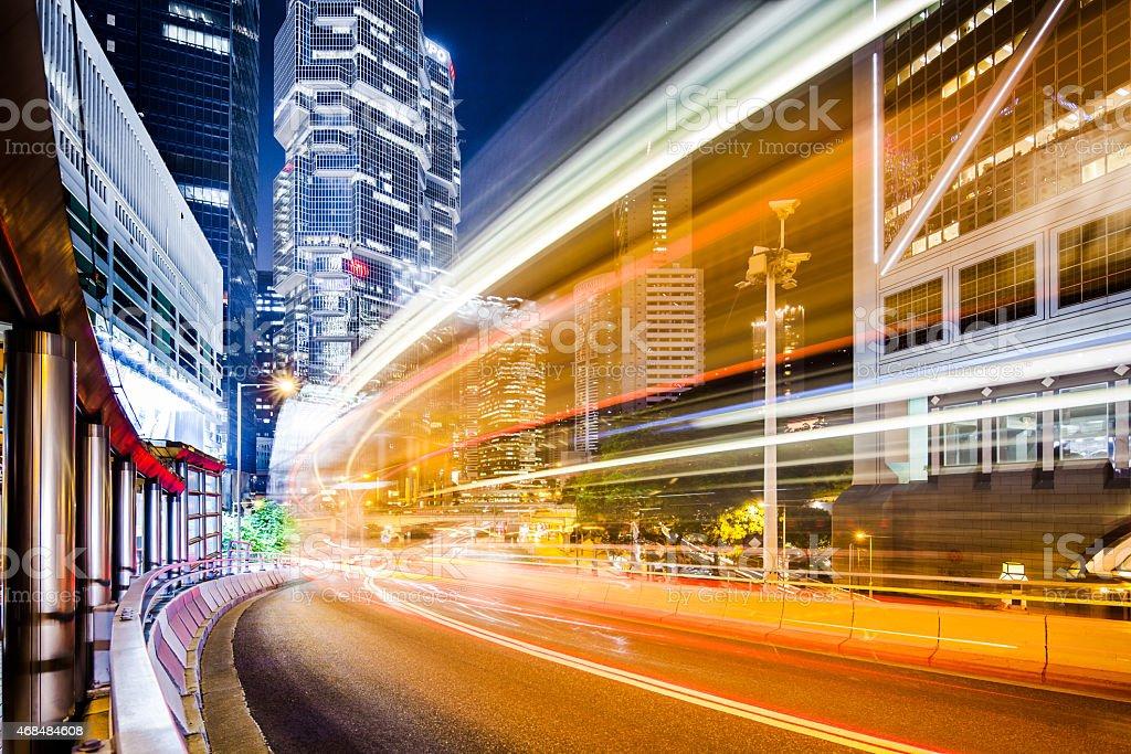 Hong Kong Traffic Scenbe At Night stock photo