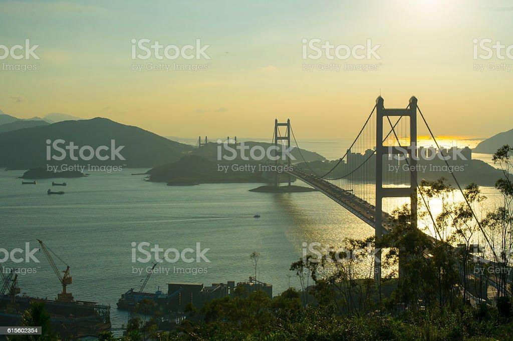 Hong Kong, Tsing Ma bridge. stock photo