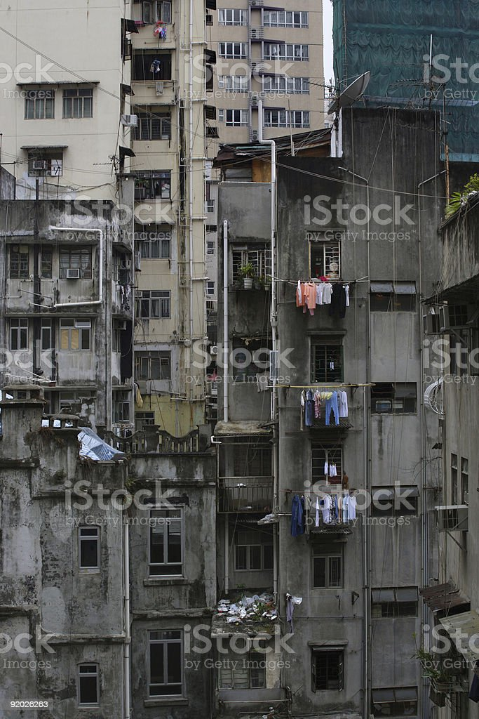Hong Kong urban decay royalty-free stock photo