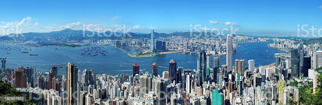 Hong Kong Victoria Harbor at Day stock photo