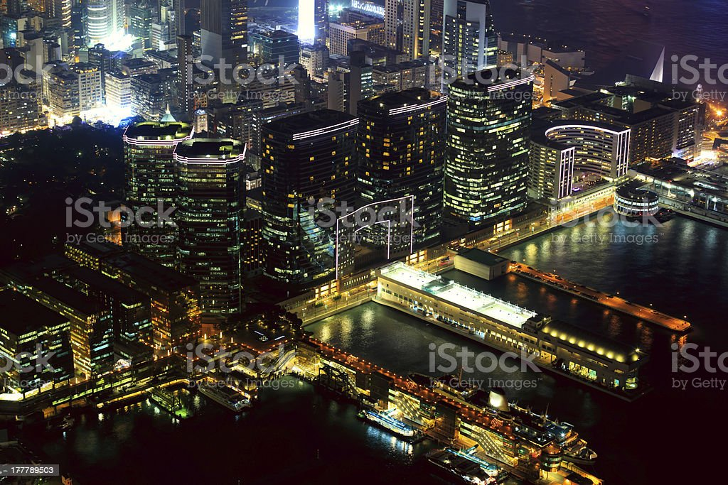 Hong Kong Victoria Harbor at Night royalty-free stock photo