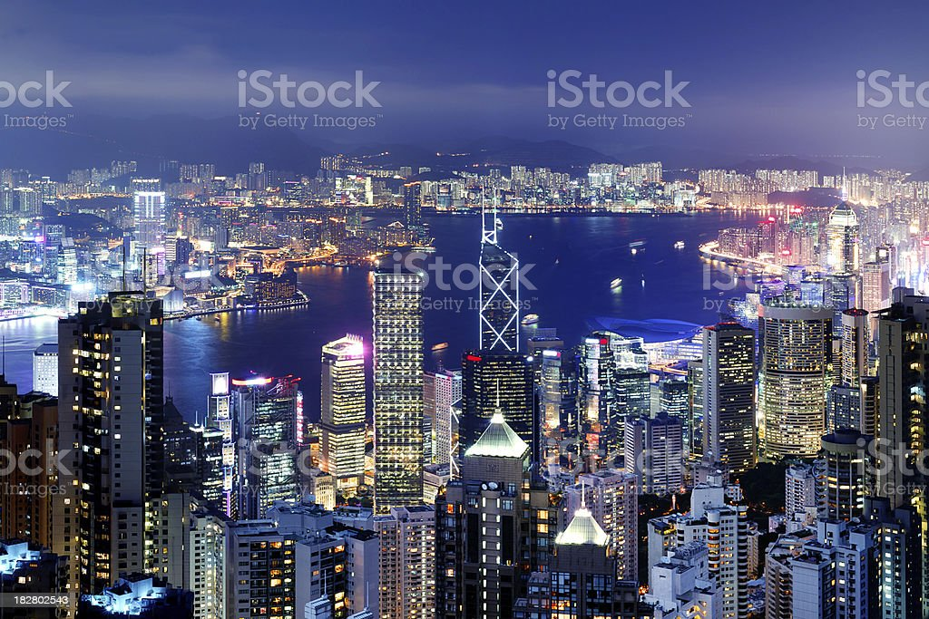Hong Kong Victoria Harbor at Night stock photo
