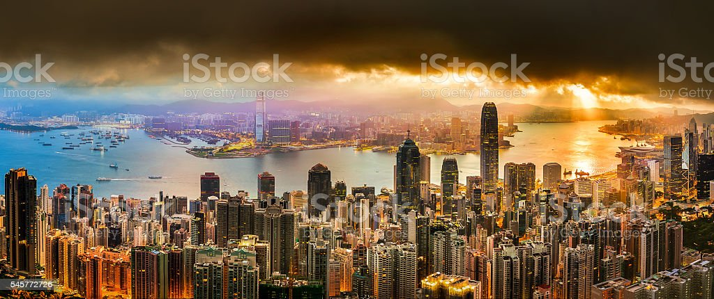 Hong Kong Victoria harbor  scenes under sunset stock photo