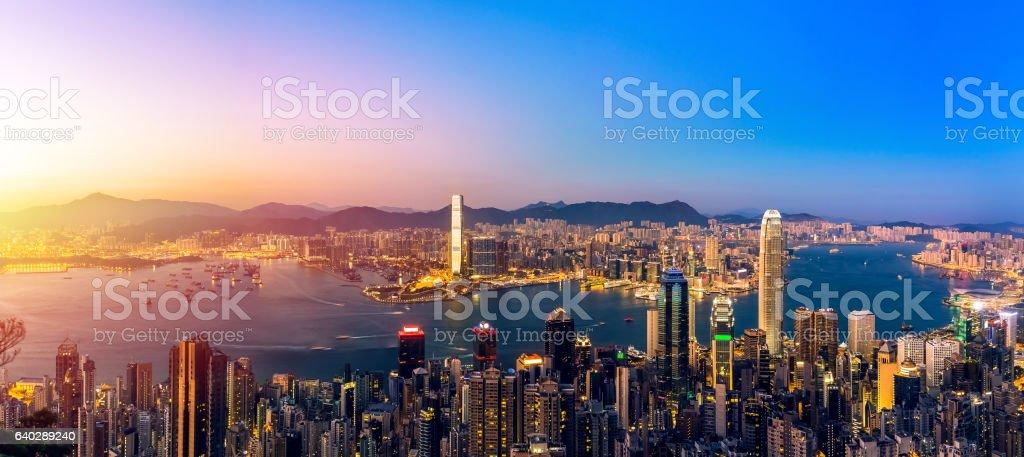 Hong Kong Victoria harbor  scenes under sunset stock photo