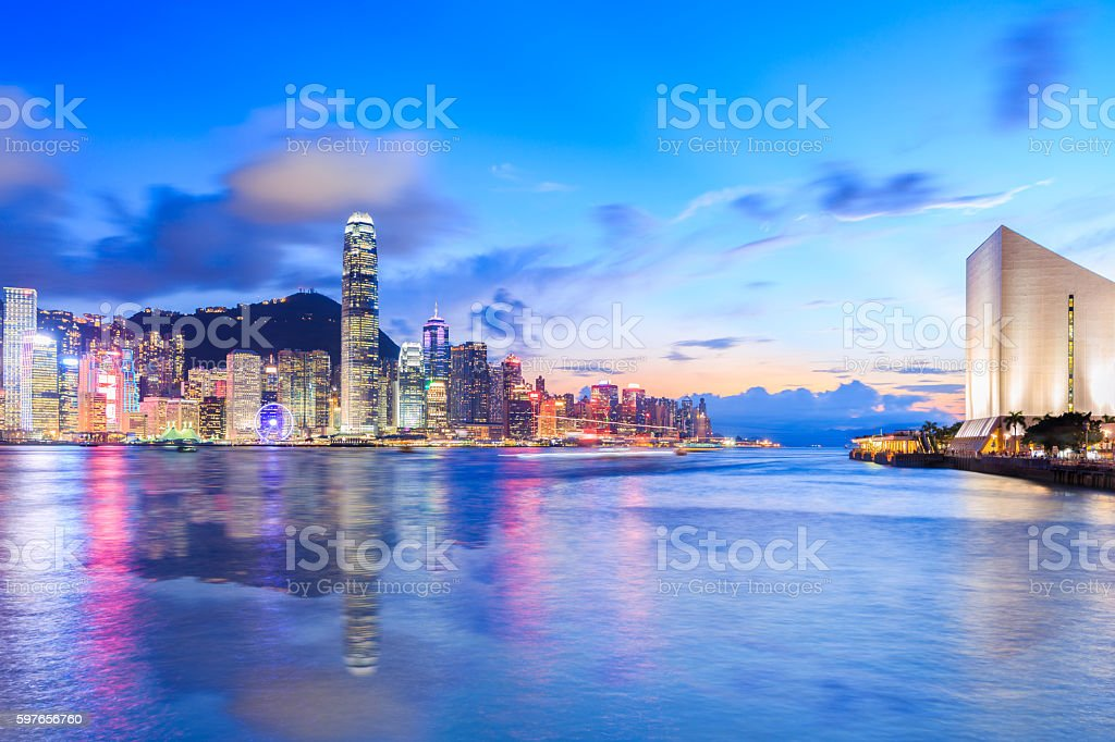 Hong Kong Victoria Harbour Blue Hour stock photo