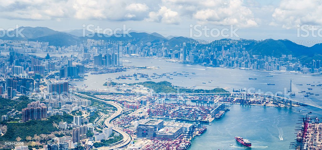 Hong Kong Victoria Harbour from Air stock photo