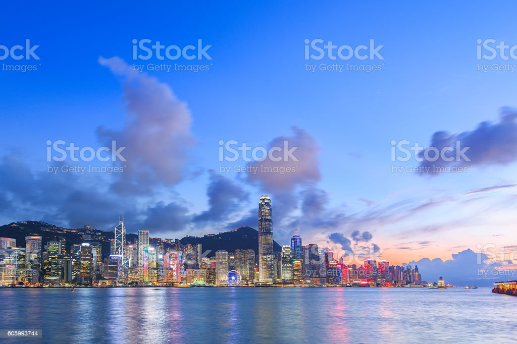 Hong Kong Victoria Harbour in a Good Day stock photo