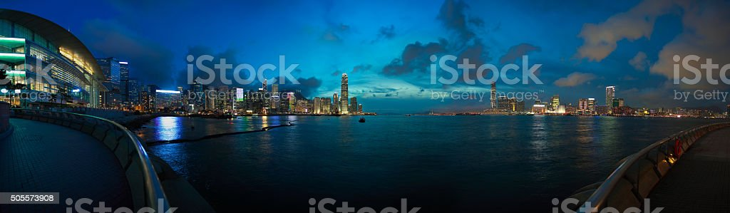 Hong Kong Victoria Harbour of panoramic coastline skyline night stock photo