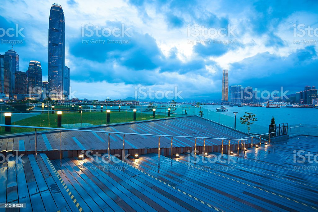 Hong Kong Victoria Harbour of urban skyline dusk stock photo