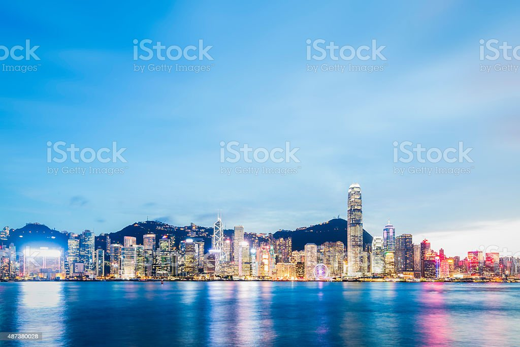 Hong Kong Victoria Harbour on a  Clear Day stock photo