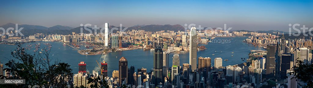 hong kong victoria harbour stock photo