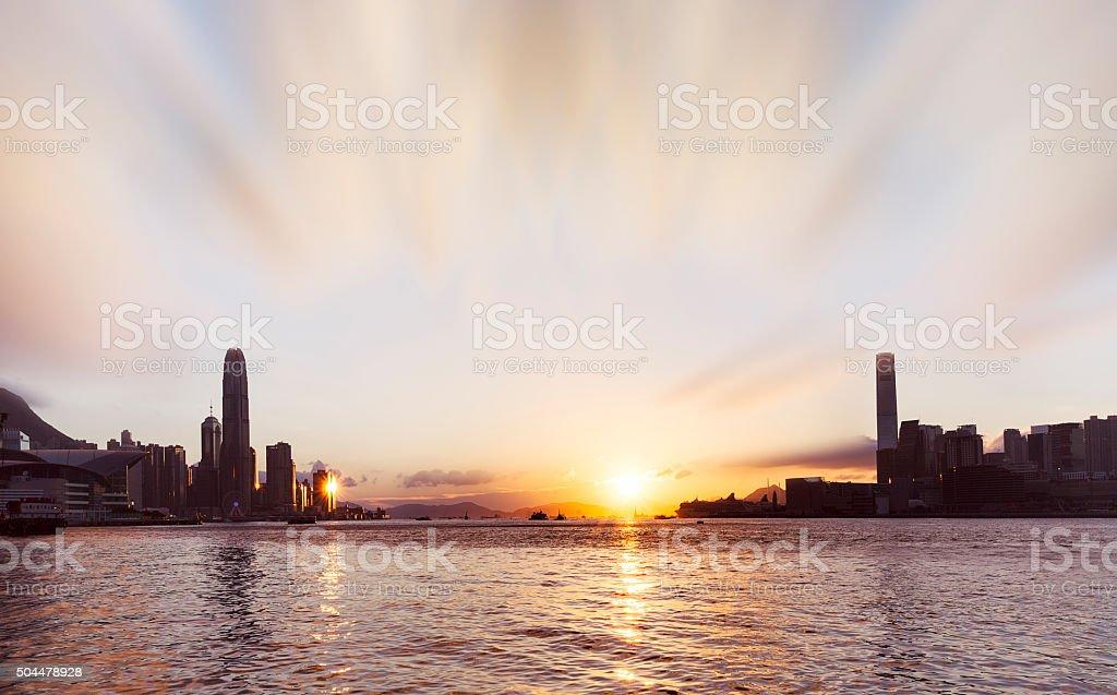 Hong Kong Victoria Harbour Sunset stock photo