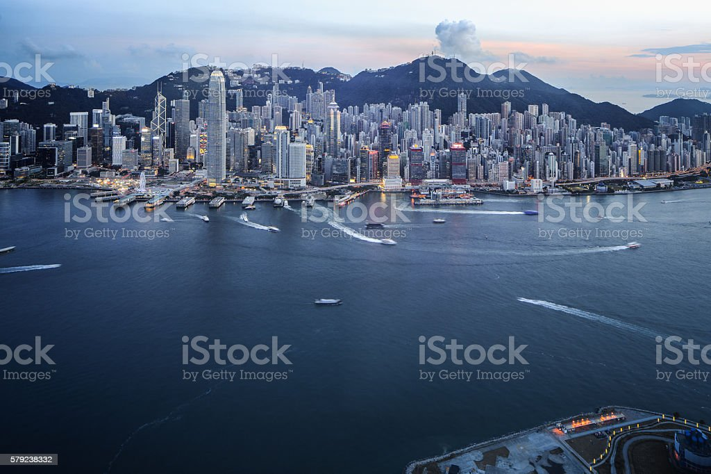 Hong Kong Victoria Harbour with Cross-Harbour Tunnel stock photo