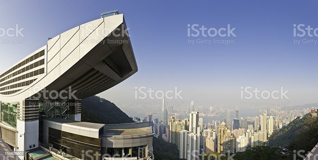 Hong Kong Victoria Peak tower view skyscrapers harbor panorama China stock photo