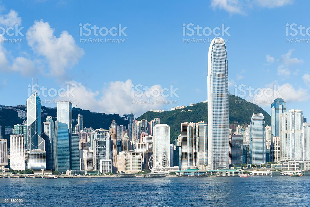 Hong Kong view from Victoria Harbour stock photo