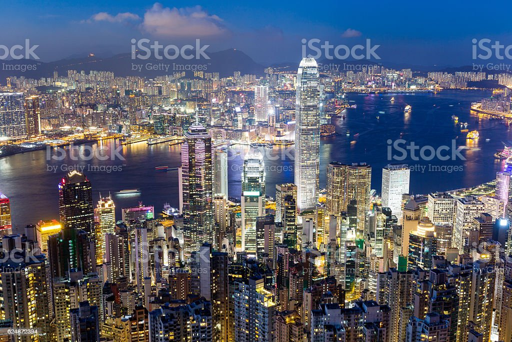 Hong Kong view from Victoria Park in the night stock photo