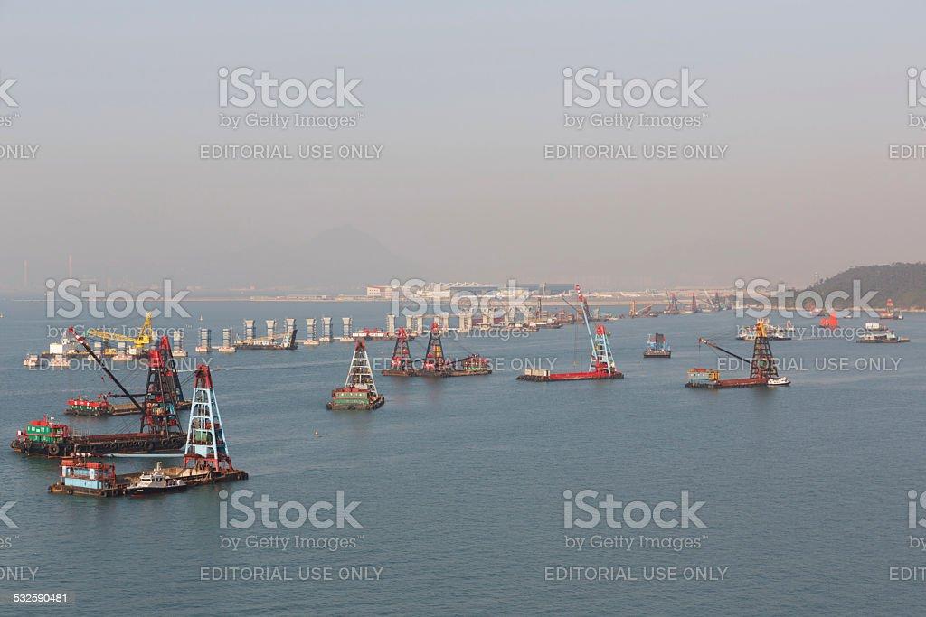 Hong Kong Zhuhai Macau Bridge Construction Site stock photo