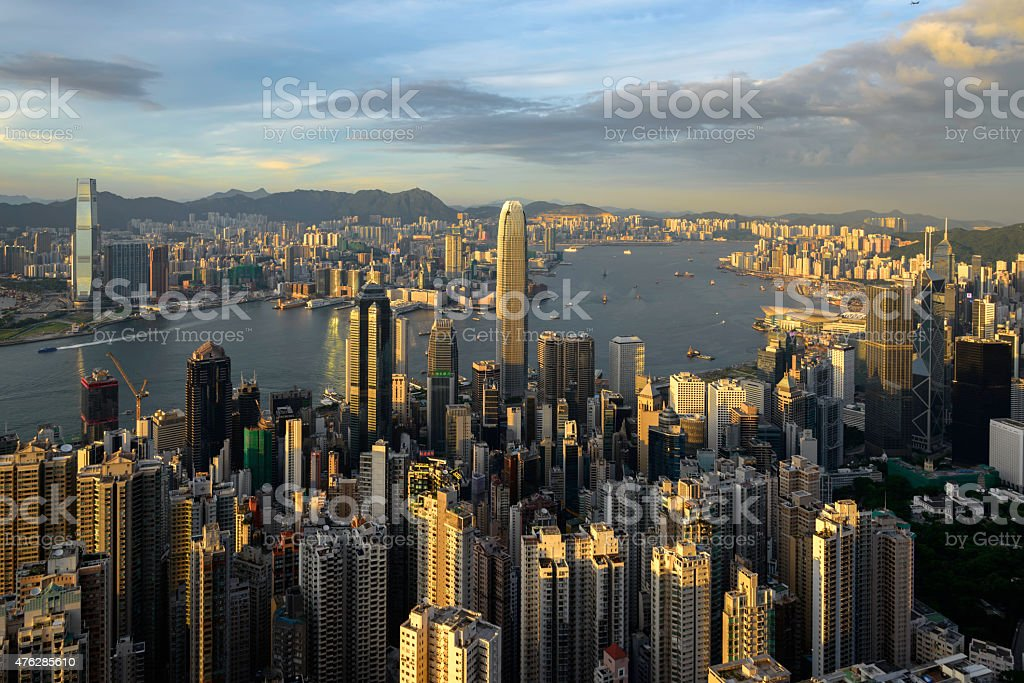 Hong kong,Victoria Harbor as viewed atop Victoria Peak, stock photo