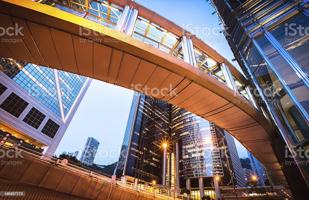 Hongkong Buildings at Night stock photo