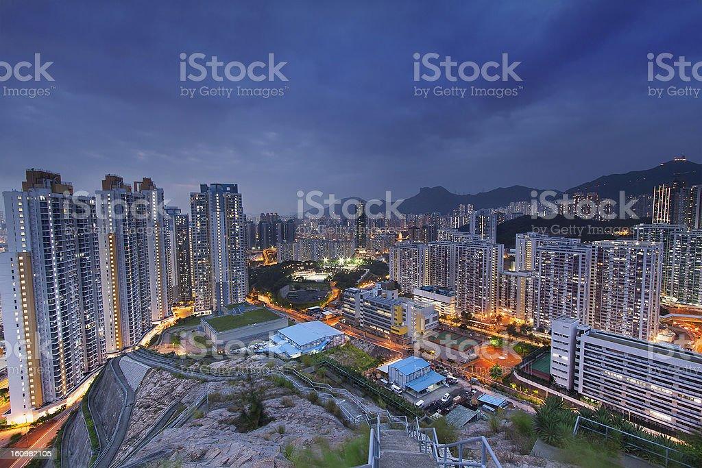 hongkong city sunset royalty-free stock photo