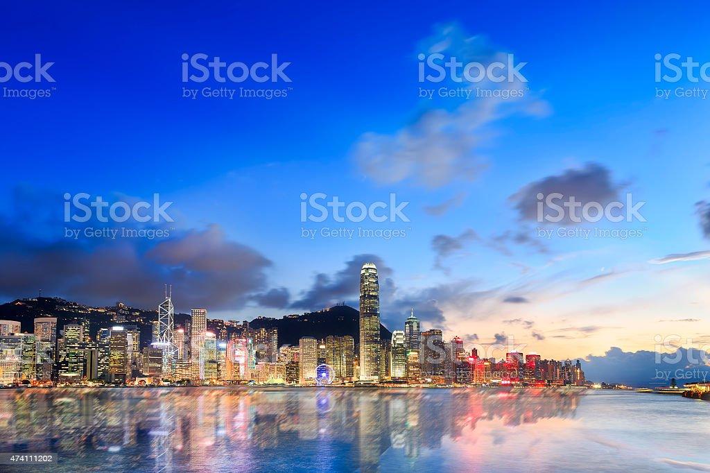 Hongkong Cityscape in Magic Hour stock photo