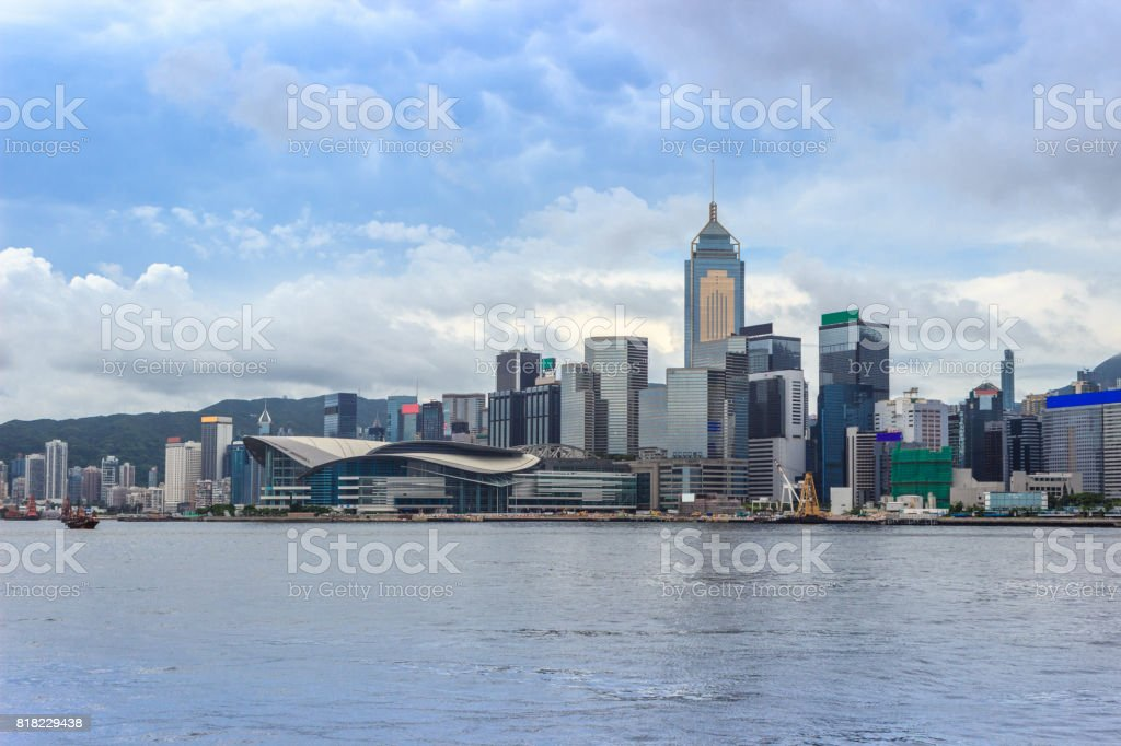 Hongkong Convention and Exhibition Centre and surrounding buildings stock photo