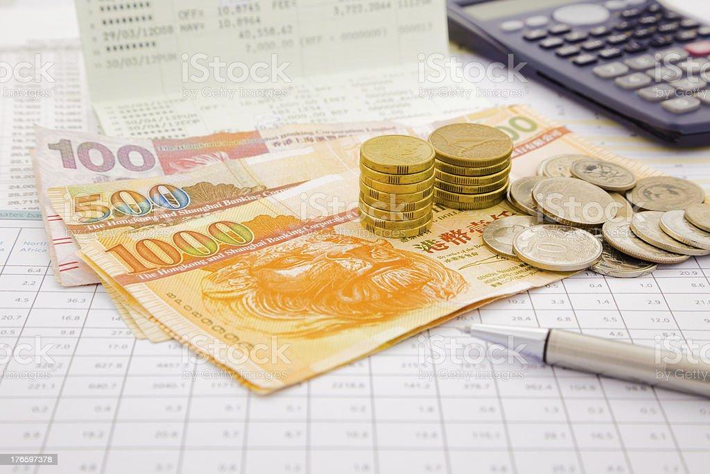 Hongkong currency and money saving royalty-free stock photo