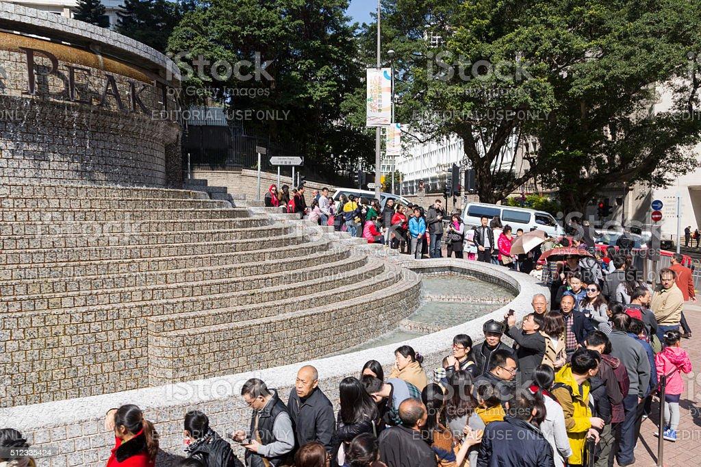 Hongkong, people lining up for the peak tram. stock photo