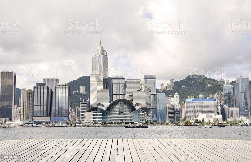 Hongkong victoria harbour skyline stock photo
