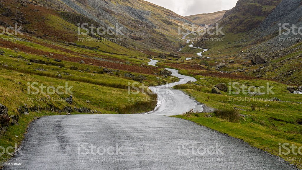 Honister Pass Road, Lake District, England stock photo