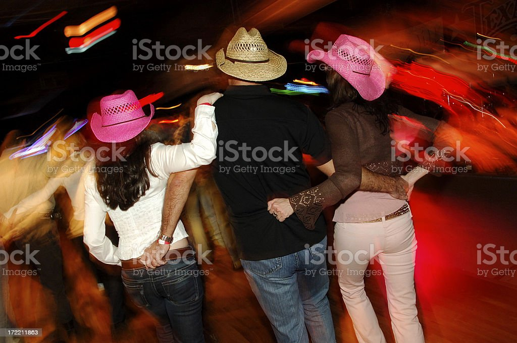 Honky Tonk Country Dancing Threesome royalty-free stock photo