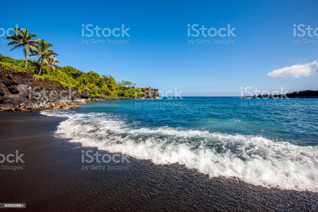 Honokalani Black Beach Wainapanapa Maui Island Hawaii stock photo