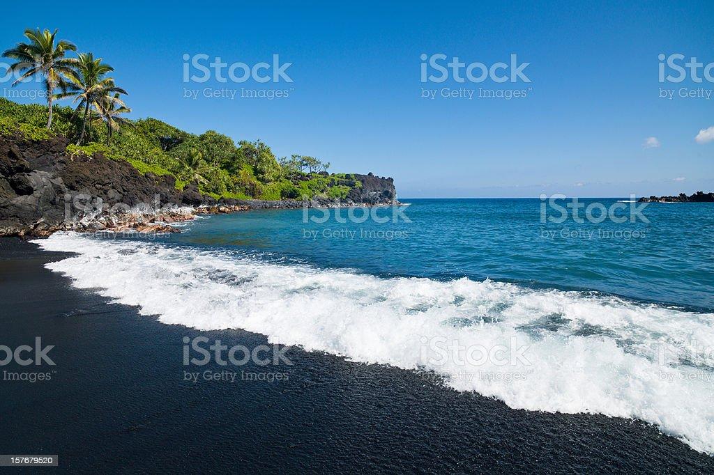 Honokalani Black Beach Wainapanapa Maui Island stock photo