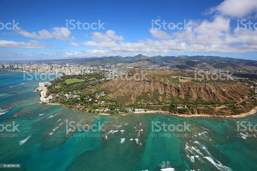 Honolulu and Diamond Head crater stock photo