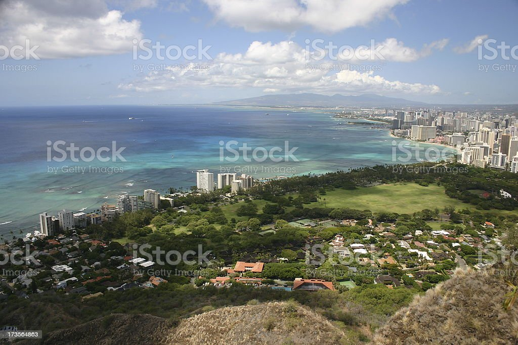 Honolulu and Mamala Bay royalty-free stock photo