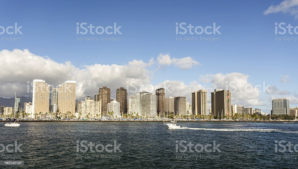 Honolulu cityscape with seafront royalty-free stock photo