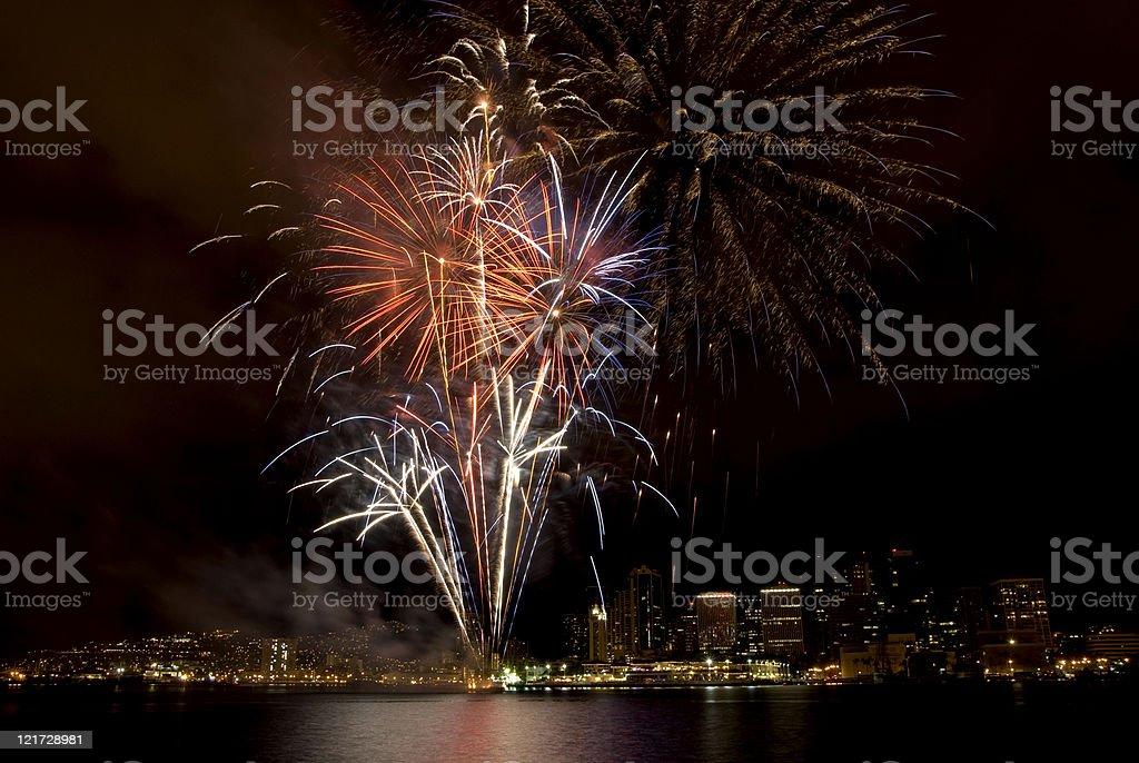 Honolulu Fireworks royalty-free stock photo