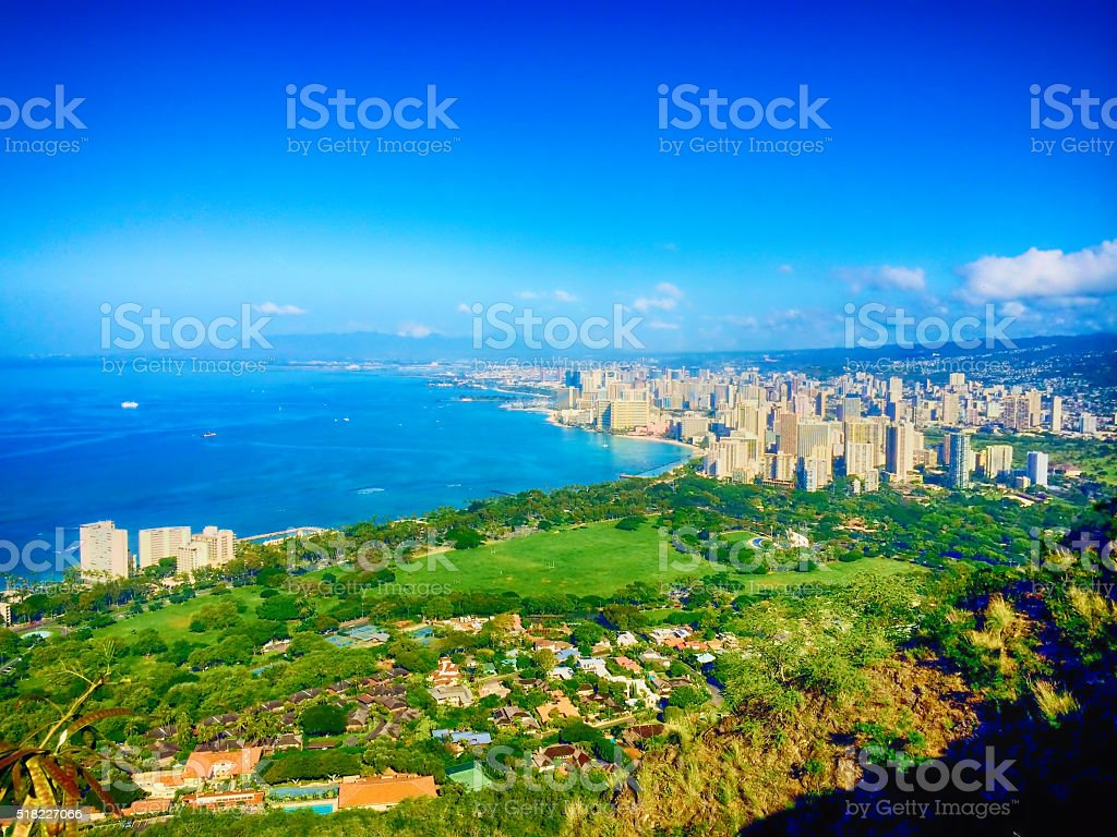 Honolulu from Diamond Head stock photo