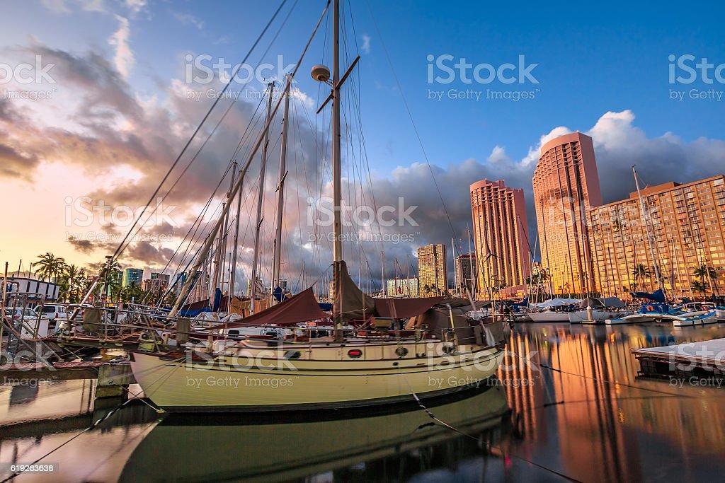 Honolulu Harbor Skyline stock photo