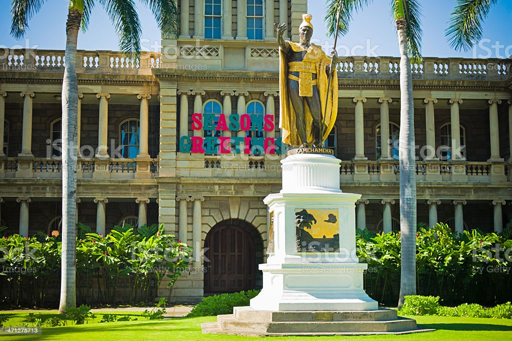 Honolulu Hawaii King Kamehameha Statue stock photo