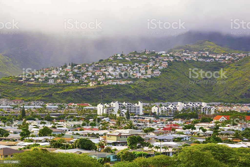 Honolulu Hawaii Suburbs Expanding into the Mountains stock photo