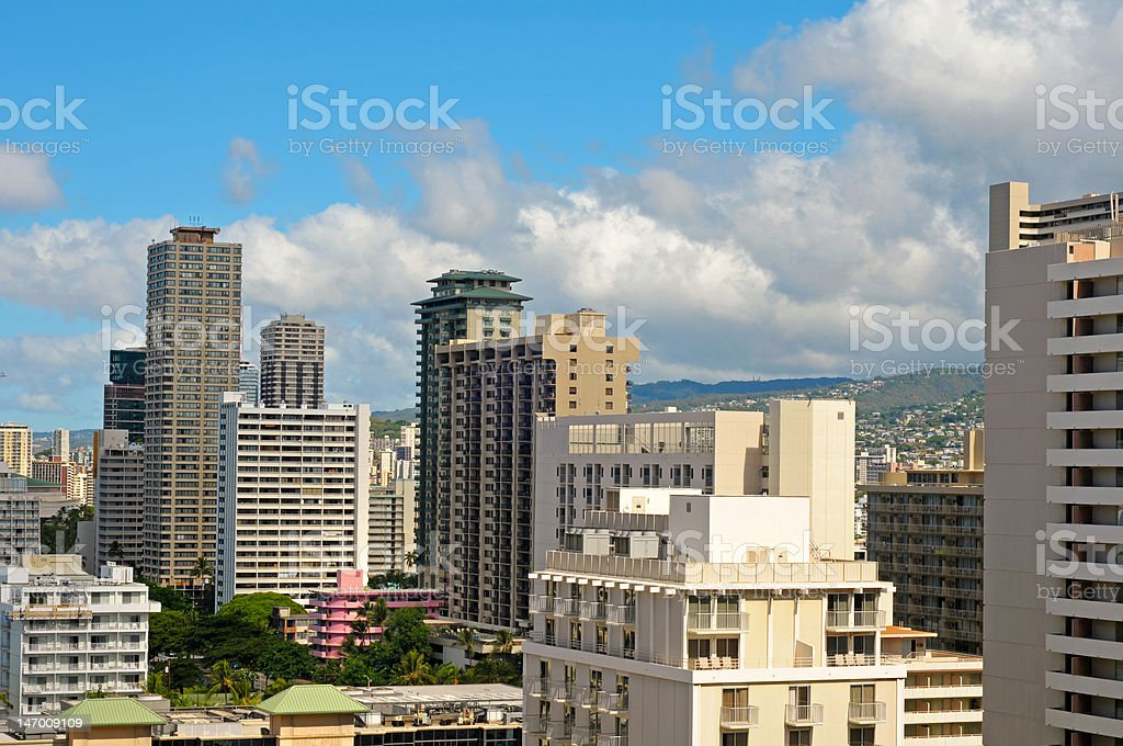 Honolulu hotels stock photo