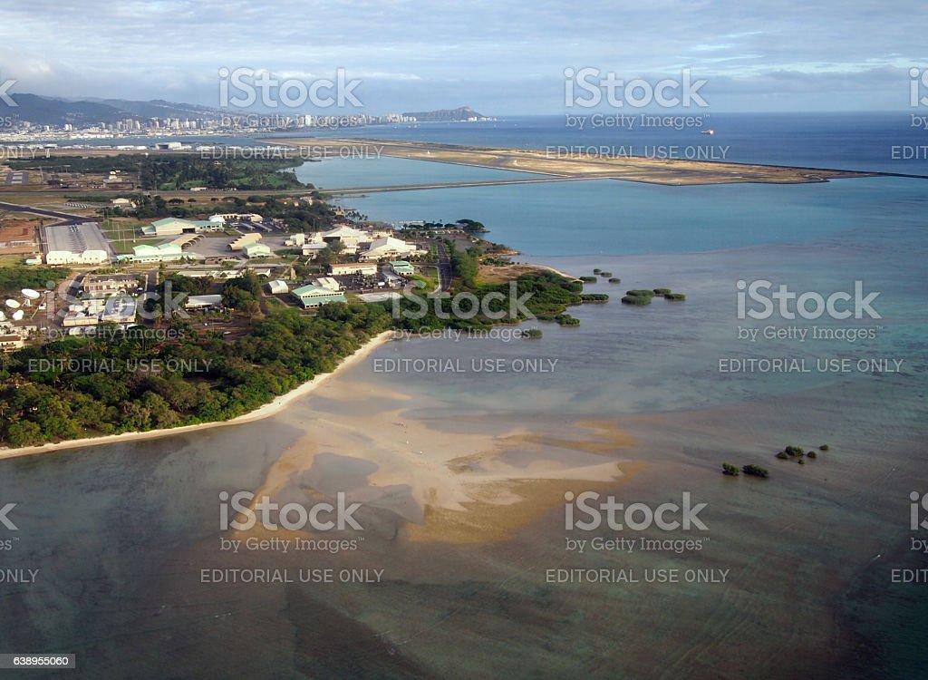Honolulu International Airport and Coral reef Runway stock photo