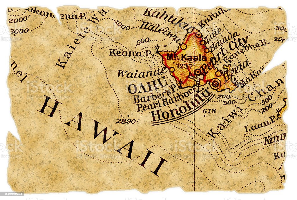 Honolulu old map royalty-free stock photo