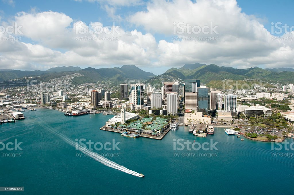 Honolulu skyline shot from a Helicopter stock photo